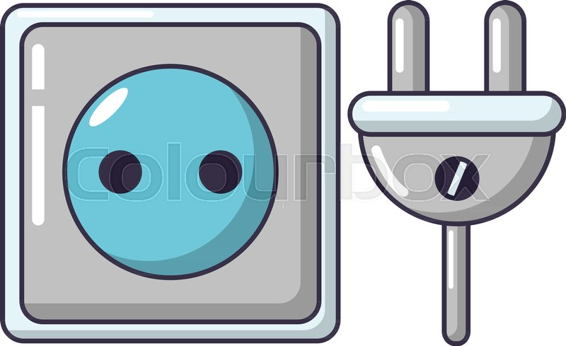 800x489 Electric Outlet Icon. Cartoon Illustration Of Electric Outlet