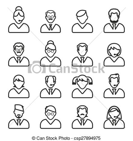 441x470 Line People Icon. People Outline Vector Set. Linear Business People.