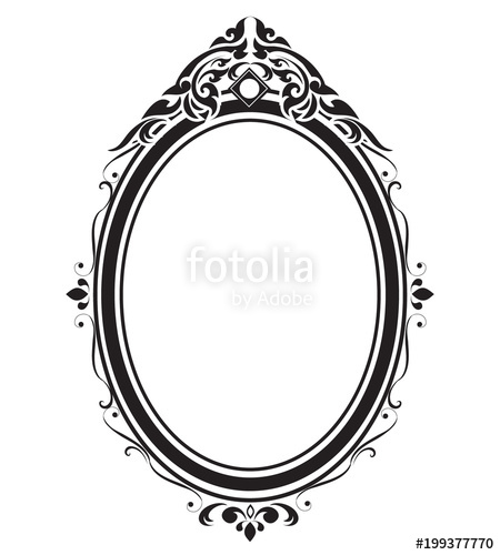 450x500 Oval Frame And Borders Black And White, Thai Pattern, Vector