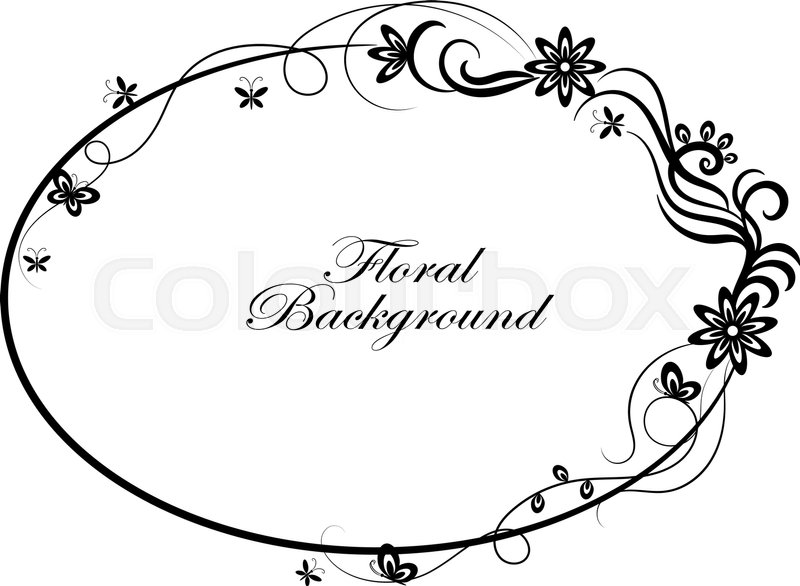 800x586 Oval Simple Ornamental Frame In Black And White Style. Stock