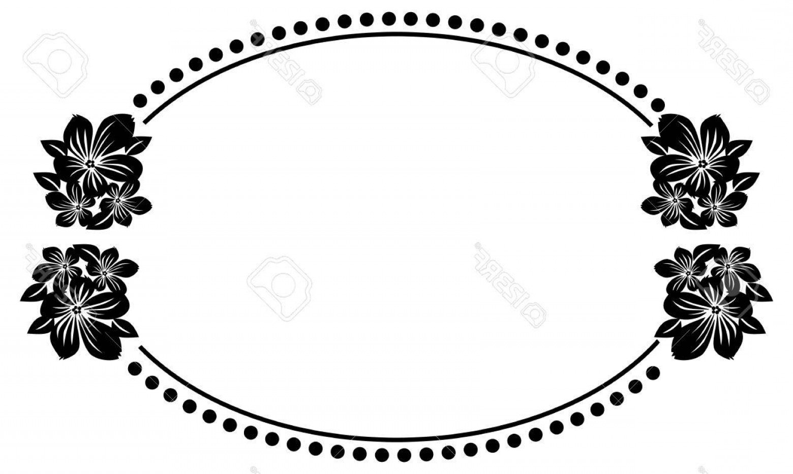 1560x933 Photostock Vector Black And White Oval Frame With Abstract Flowers