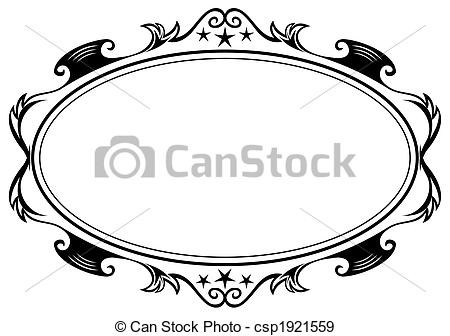 450x336 Antique Oval Frame. Elegance Black Antique Frame Isolated On White.