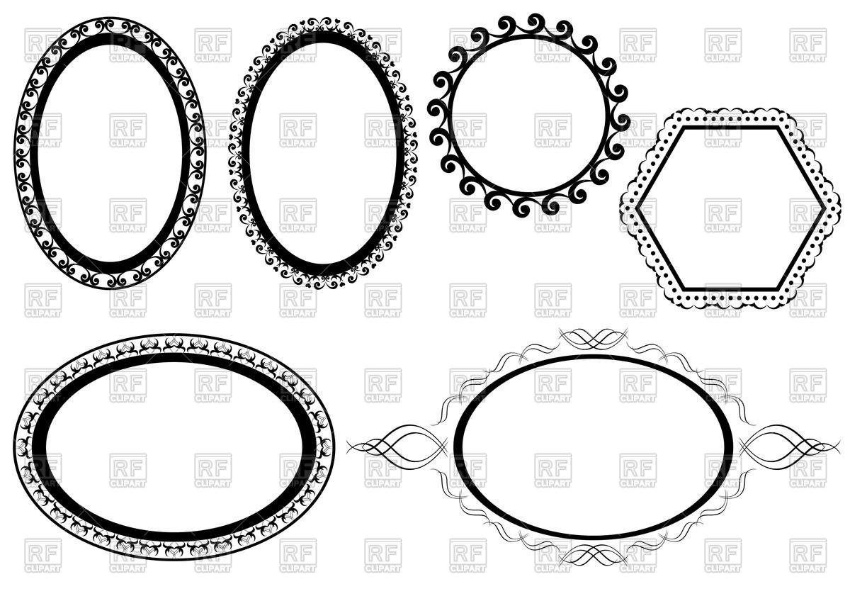 1200x848 Simple Elegant Oval And Hexagonal Frames Vector Image Vector