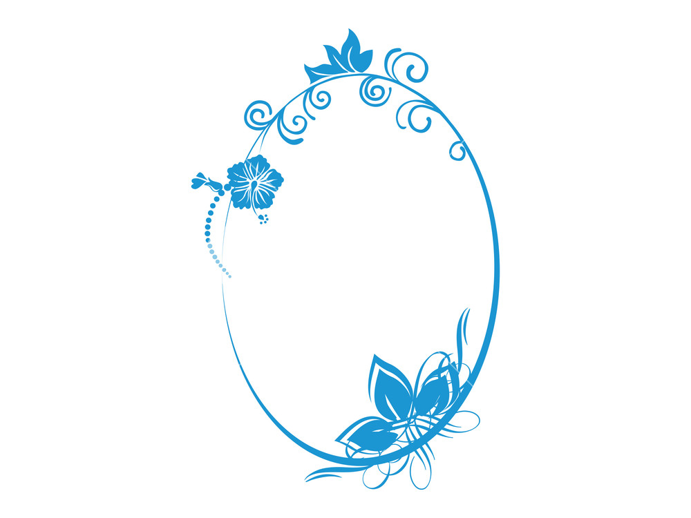 1000x750 Vector Floral In Blue Oval Frame Theme Royalty Free Stock Image