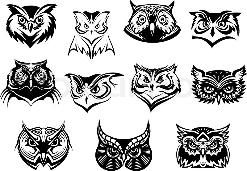 800x554 Large Set Of Black And White Vector Owl Heads Showing Different