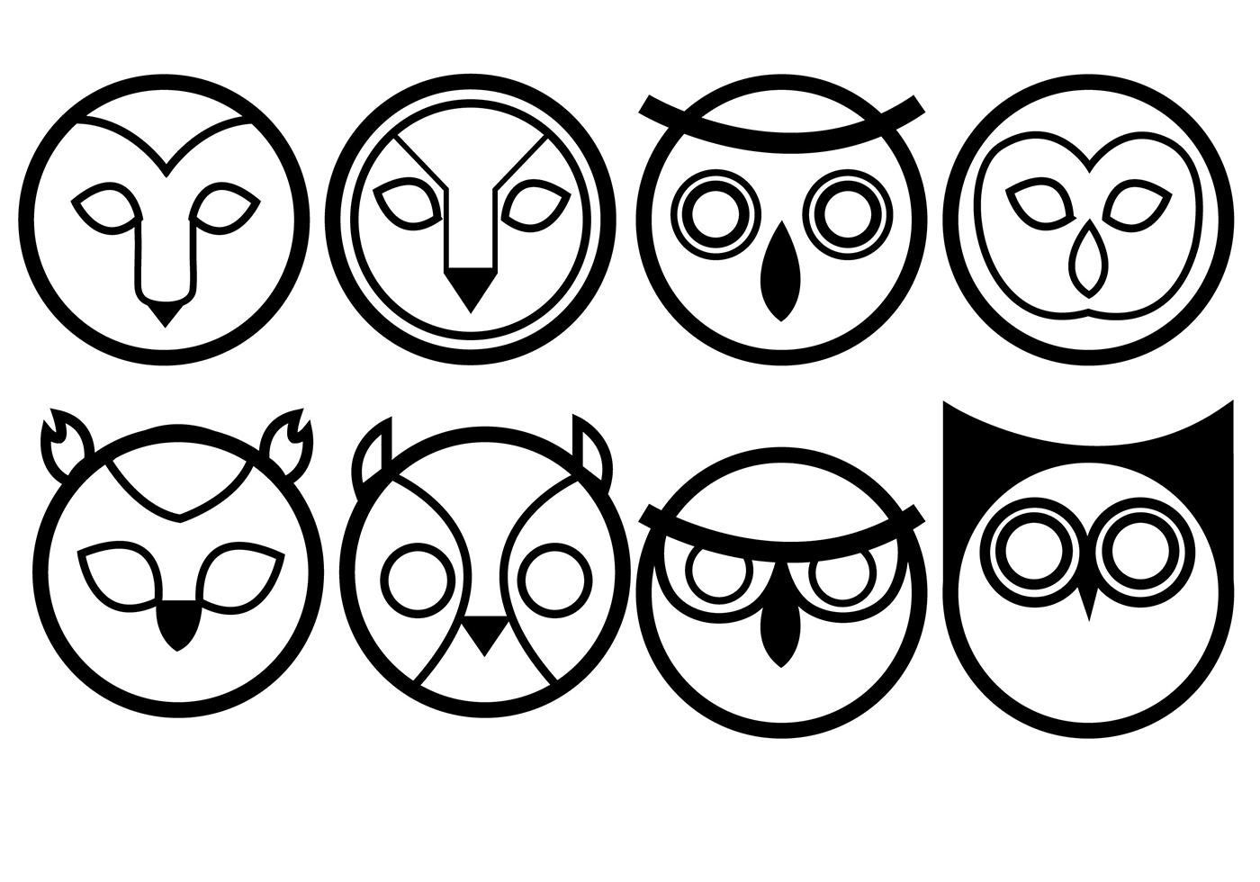 1400x980 Owls Icon Vectors