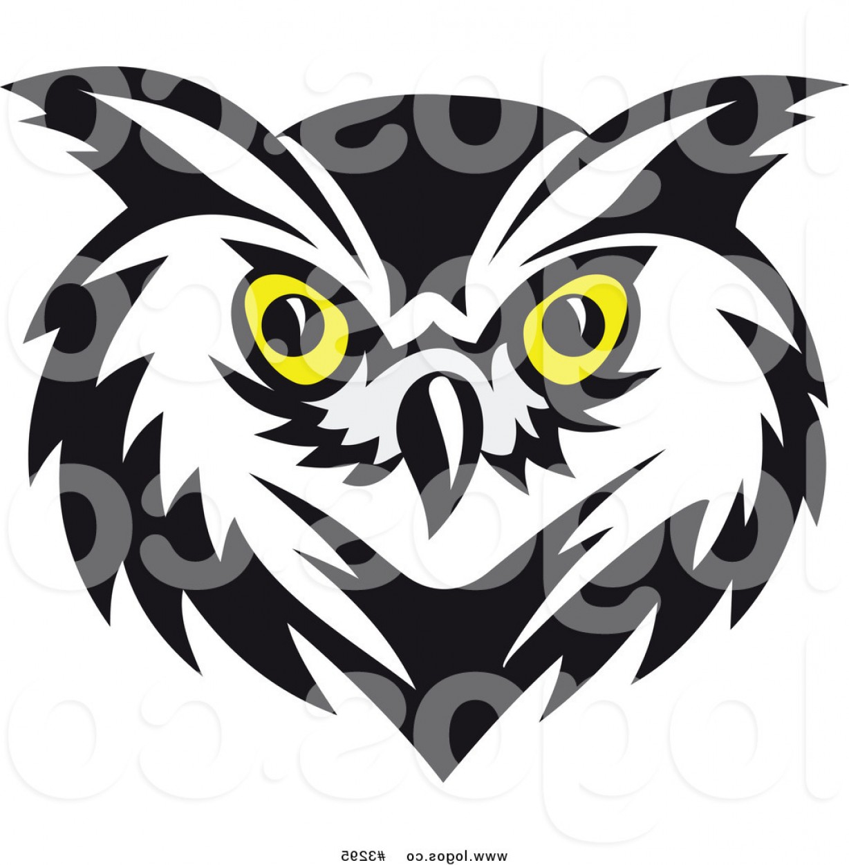 1228x1252 Royalty Free Vector Of A Yellow Eyed Owl Face Logo By Vector