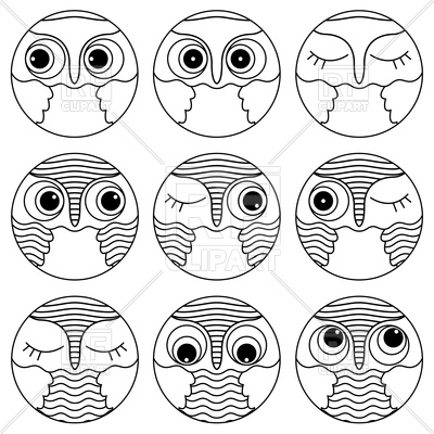 400x400 Set Of Owl Faces Vector Image Vector Artwork Of Plants And