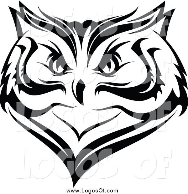 600x620 Vector Clipart Of A Black And White Owl Face Logo By Vector