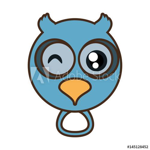 500x500 Cute Owl Face Kawaii Style Vector Illustration Eps 10