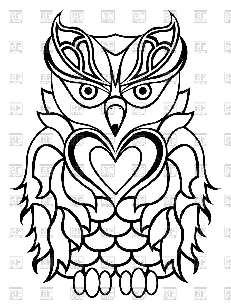900x1200 Big Serious Owl Isolated On A White Background Vector Image