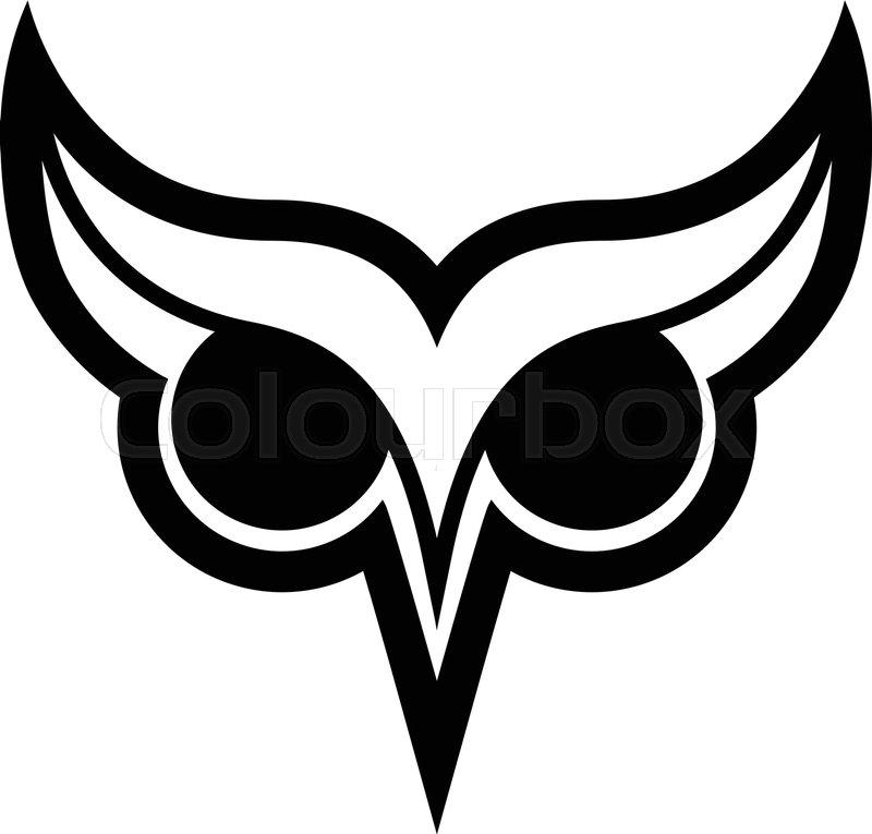 800x765 Owl Bird Logo With Big Eyes And Eyebrows In Black Vector Stock