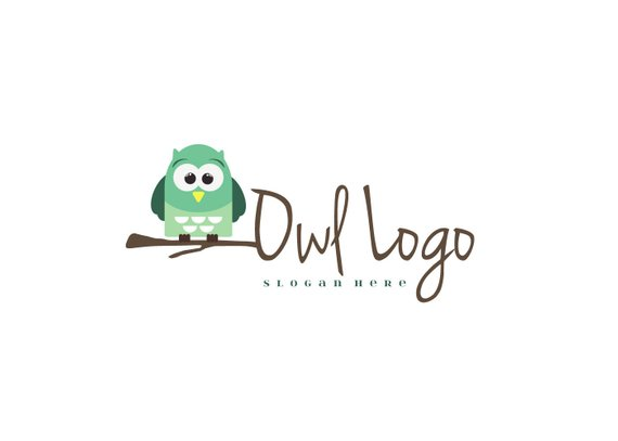 570x407 Owl Logo Design Tree Branch Logo Owl Sitting On A Branch Etsy