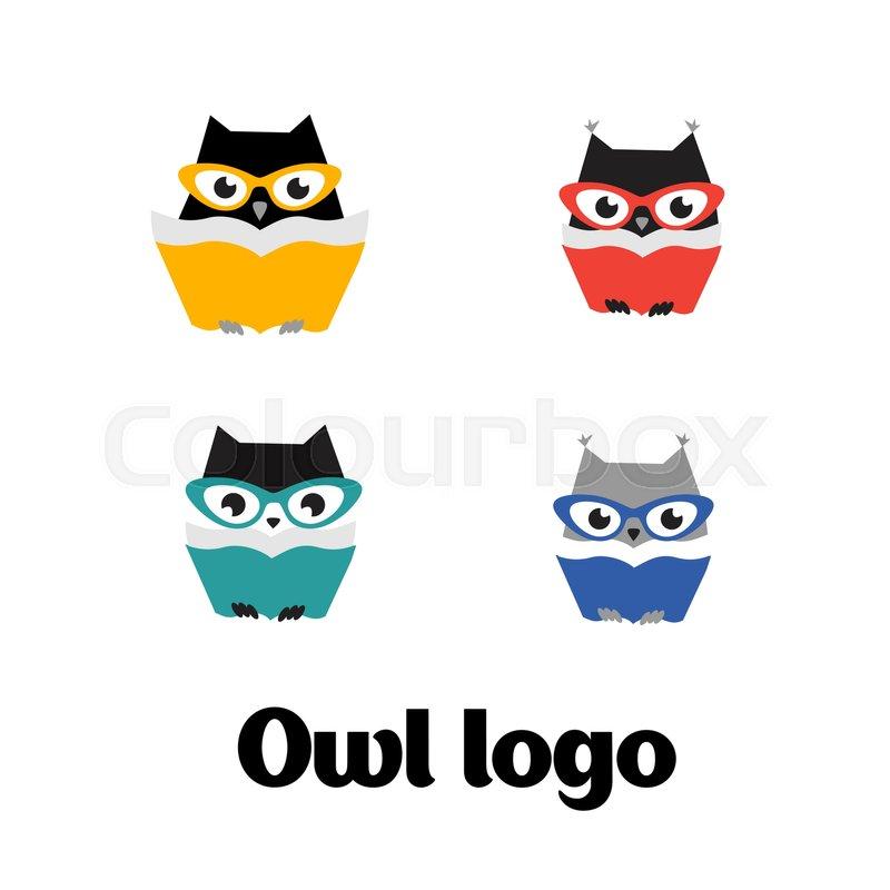 800x800 Set Vector Owl Logo. Vector Owl Icon. Set Flat Vector Owl Logo