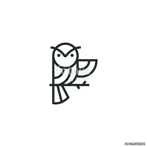 500x500 Owl Logo Vector Graphic Minimalist Outline Art Stock Image And
