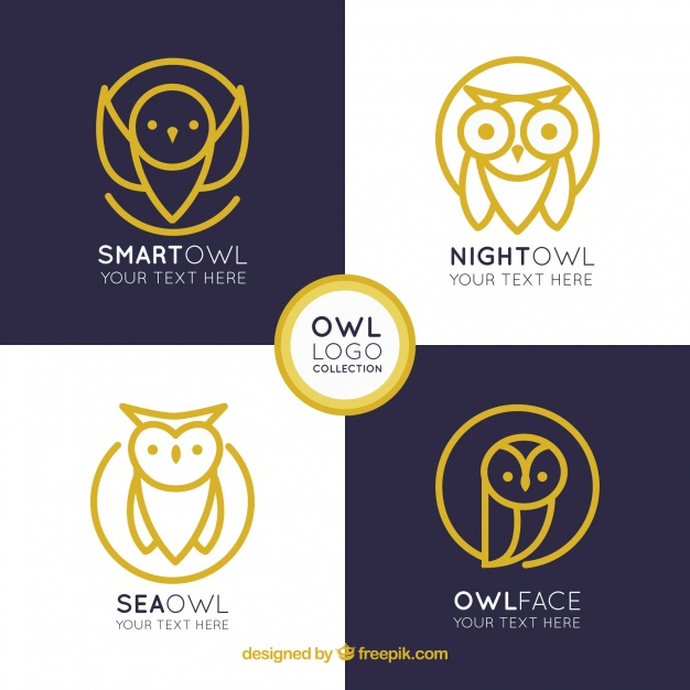 626x626 Elegant Owl Logo Collection Vector Free Download