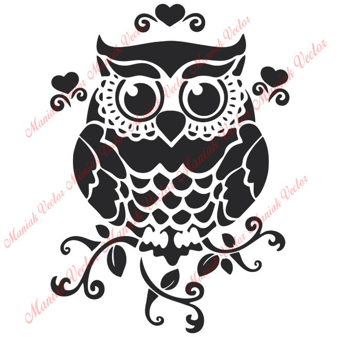 662x657 Instant Download Owl Svgowl Silhouette Files Owl Vector Etsy
