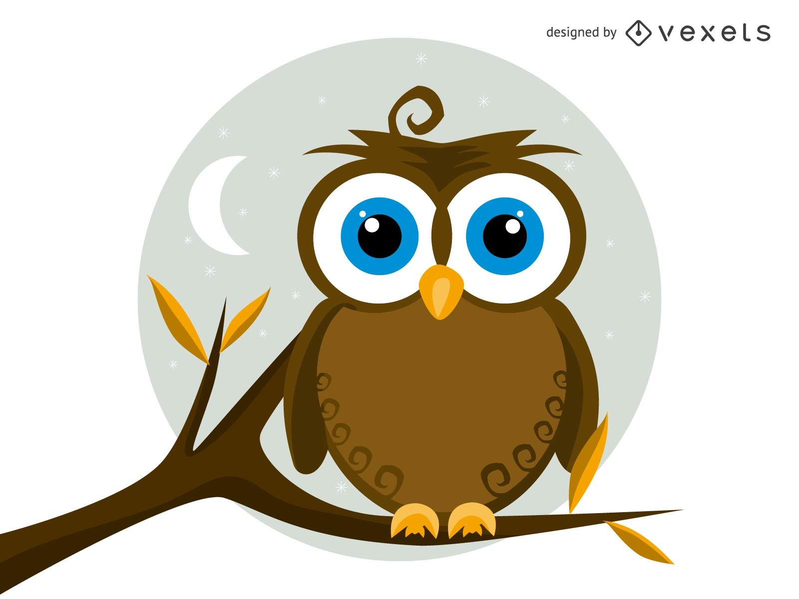 1600x1200 Isolated Vector Owl Illustration
