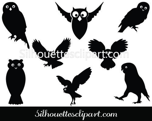 500x400 Silhouette Of Flying Owl Vector Art Free Download Silhouettes Vector