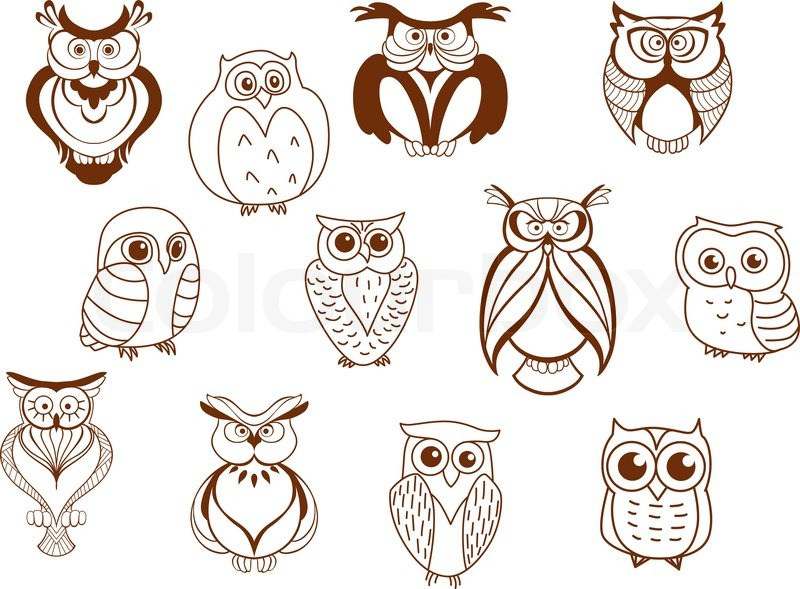 800x589 Cute Cartoon Vector Owl Characters Showing Different Species With
