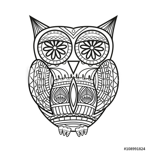 483x500 Black And White Zentangle Owl Vector For Coloring, Civetta