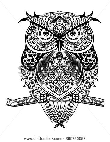 366x470 Vector Hand Drawn Owl Sitting On Branch. Black And White Zentangle