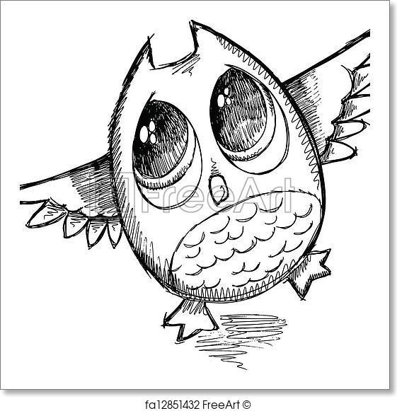 561x581 Free Art Print Of Cute Sketch Doodle Owl Vector . Cute Sketch