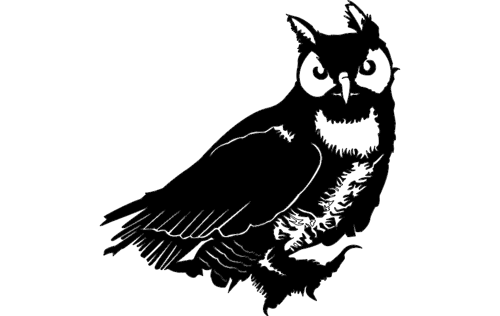 1002x633 Owl Vector Dxf File Free Download