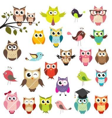 380x400 Set Of Owls Vector 1116419