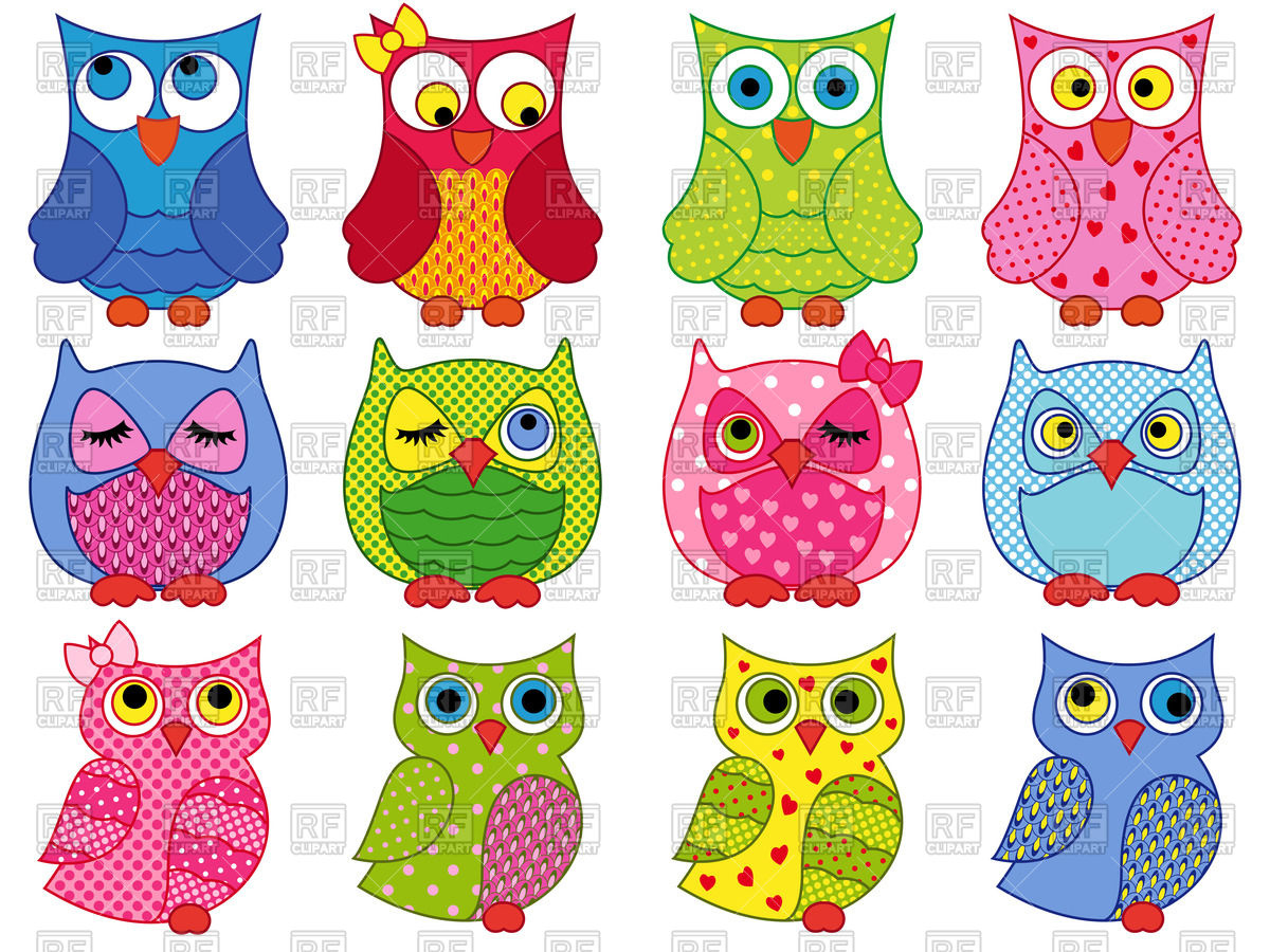 1200x900 Colourful Cartoon Owls Vector Image Vector Artwork Of Plants And