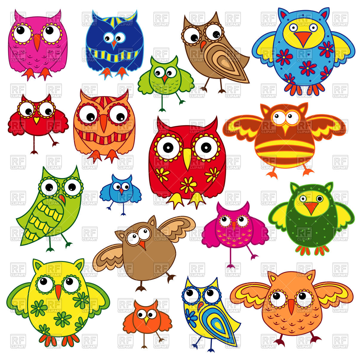 1200x1200 Colourful Cute Owls Vector Image Vector Artwork Of Plants And