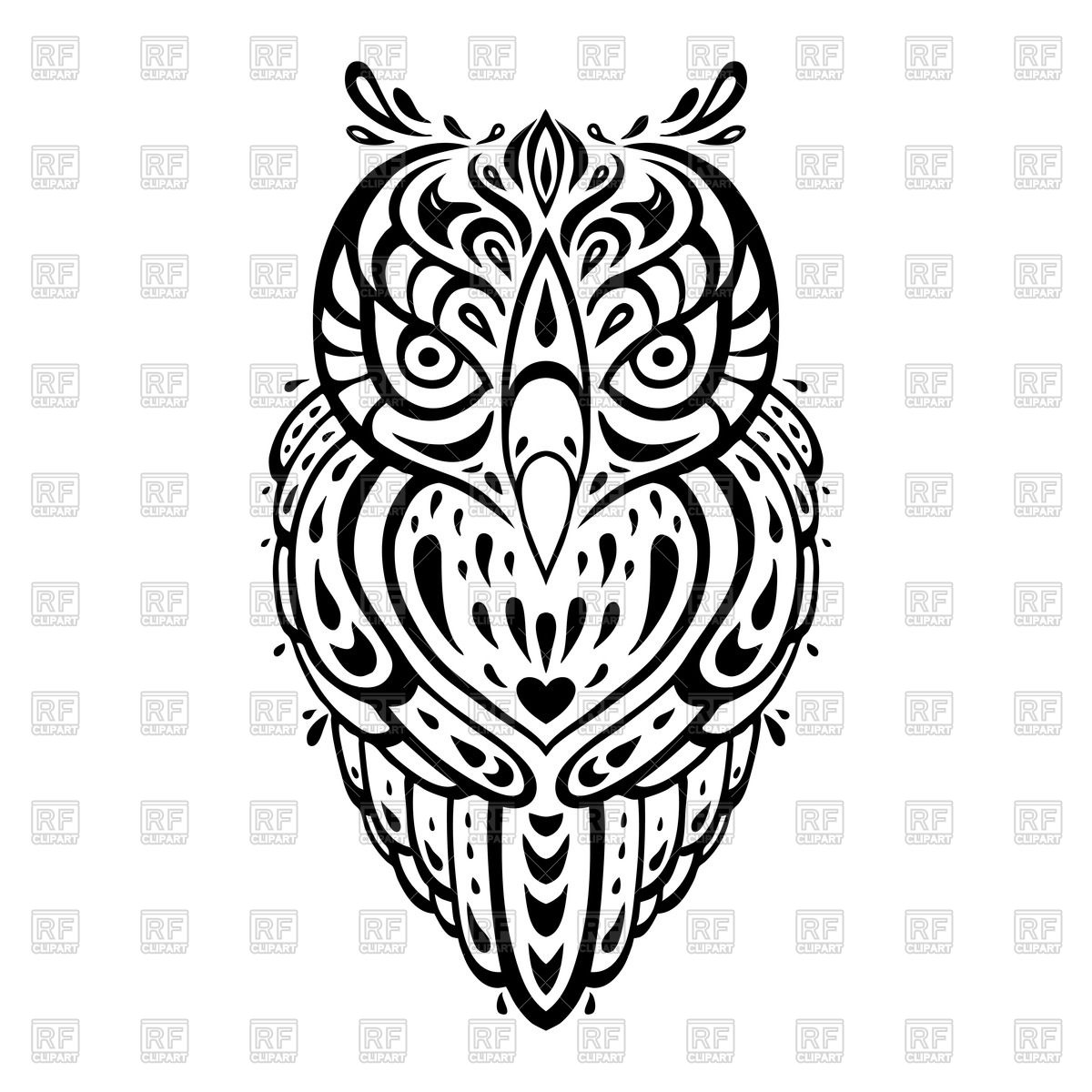 1200x1200 Decorative Tattoo Style Owl Vector Image Vector Artwork Of
