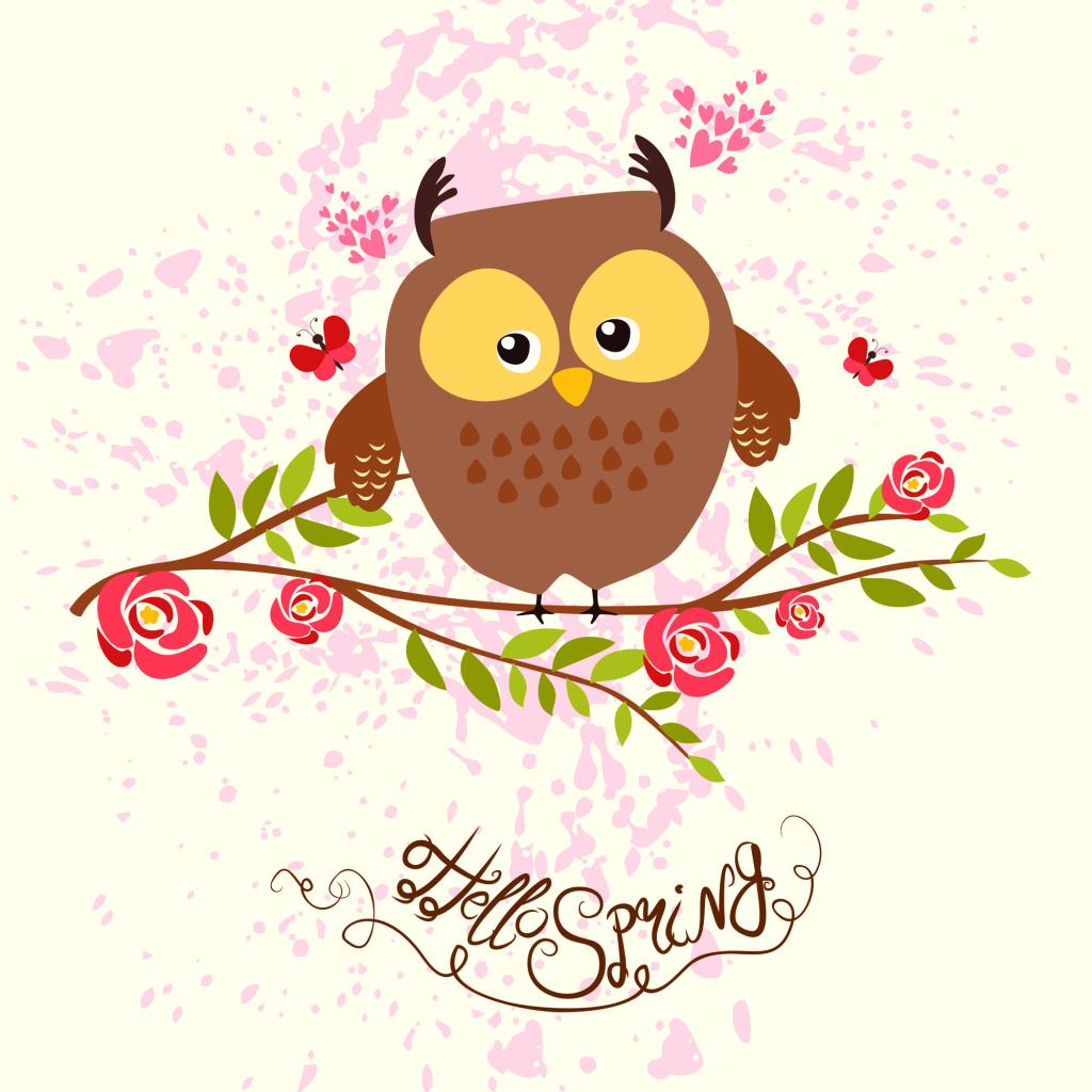 1024x1024 Flower Lovable Owl Vector Free Download Eps Files