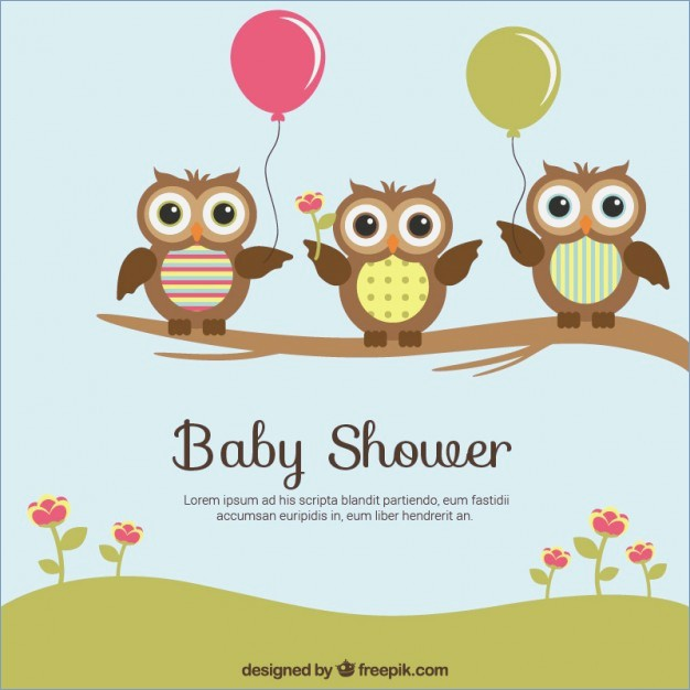 626x626 Ba Shower Card With Cute Owls Vector Free Download Baby Shower Owl