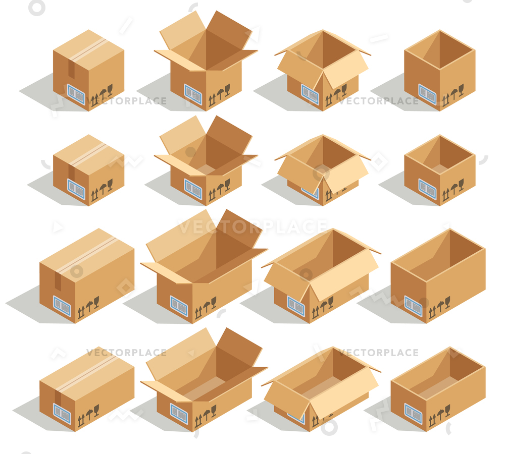 1000x900 Isometric Cardboard Boxes Box Package Packaging Vector