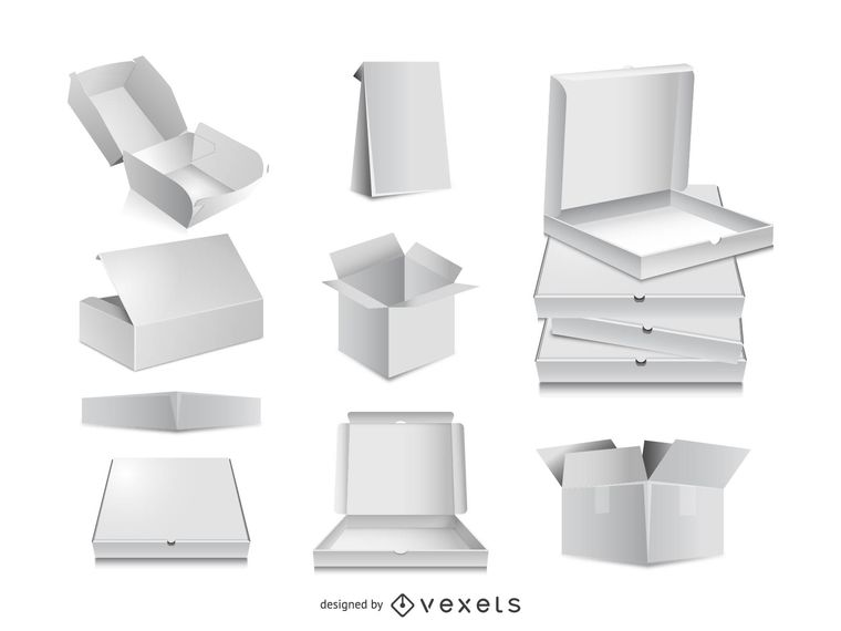760x570 3d Packaging Box Vector Templates For Your Design