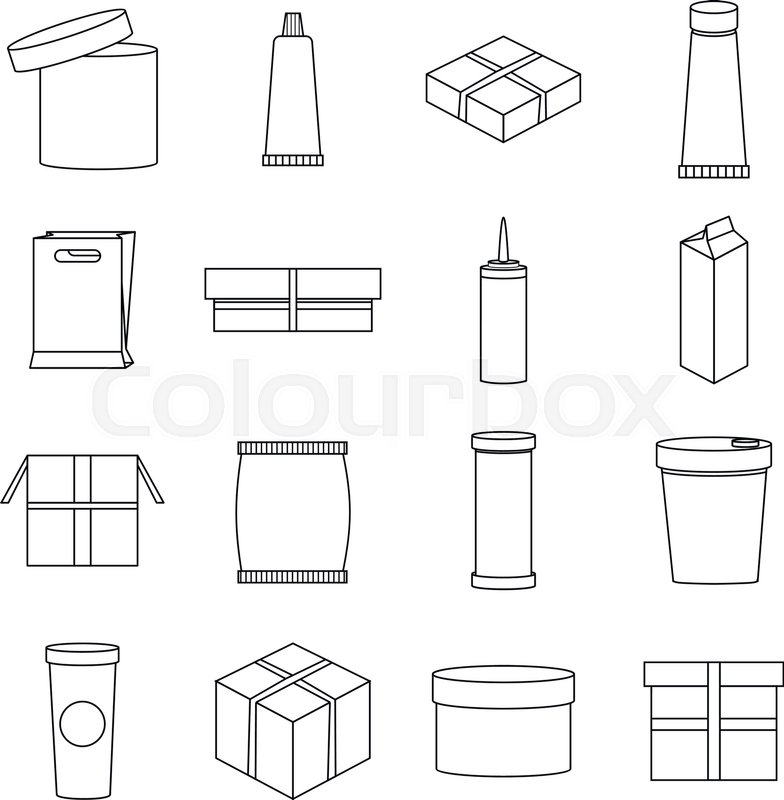 784x800 Packaging Set. Outline Illustration Of 16 Packaging Vector Icons