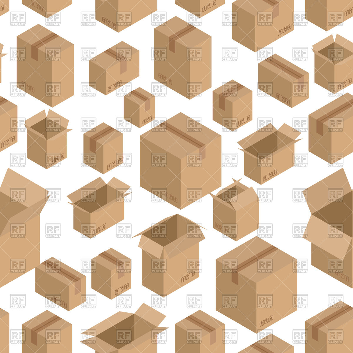 1200x1200 Seamless Pattern With Cardboard Box, Paper Packaging Vector Image