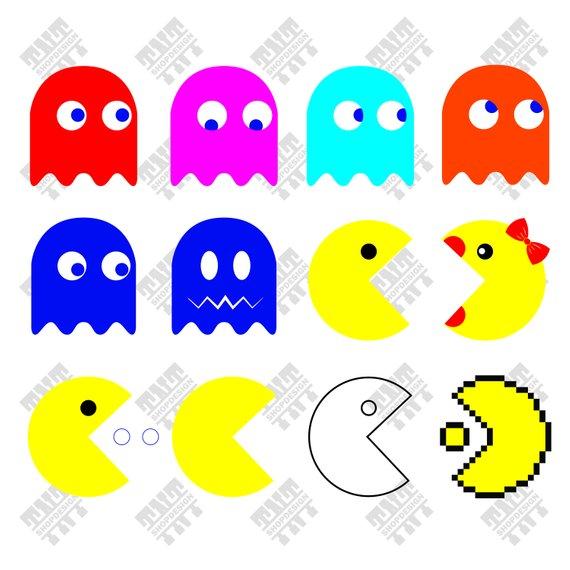 570x570 Pacman Svg Pacman Vector Pacman Bundle Pacman Digital Etsy