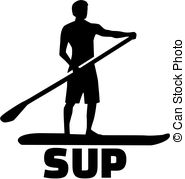 185x179 Female Silhouette On Stand Up Paddle Board. Sup. Template