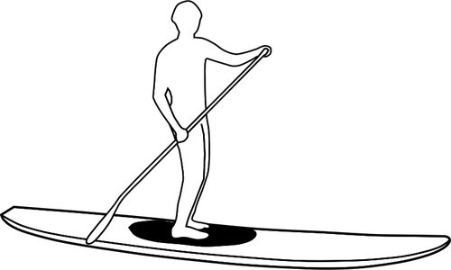 500x300 Stand Up Paddleboard Silhouette Silhouette Vector Image Public