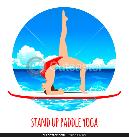 436x464 Woman Practicing Sup Yoga On A Paddle Board In The Sea Ocean