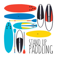 240x240 Vector Illustration Of Stand Up Paddle Boards And Paddles Set I
