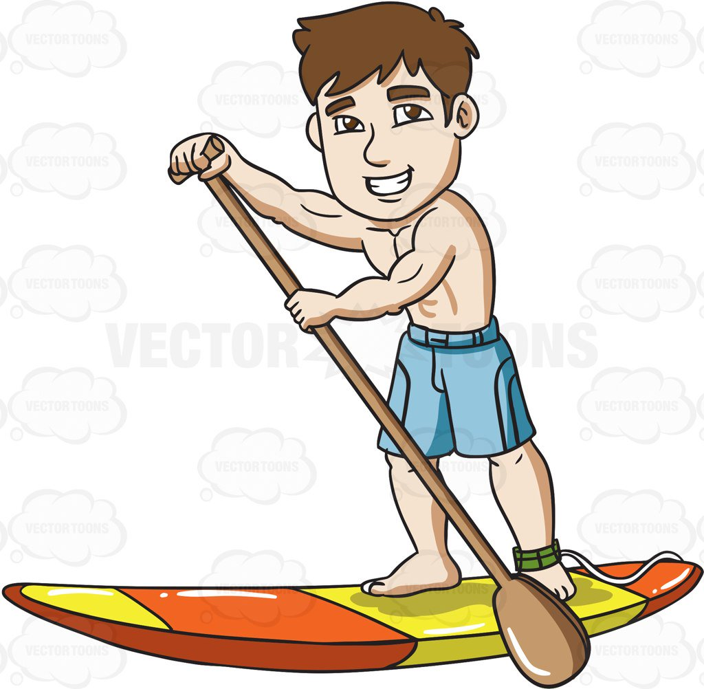 1024x1002 A Joyful Man On A Paddle Board Clipart By Vector Toons