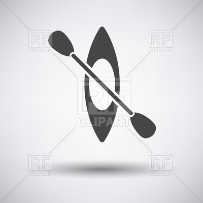 400x400 Kayak And Paddle Icon On Gray Background With Round Shadow Vector