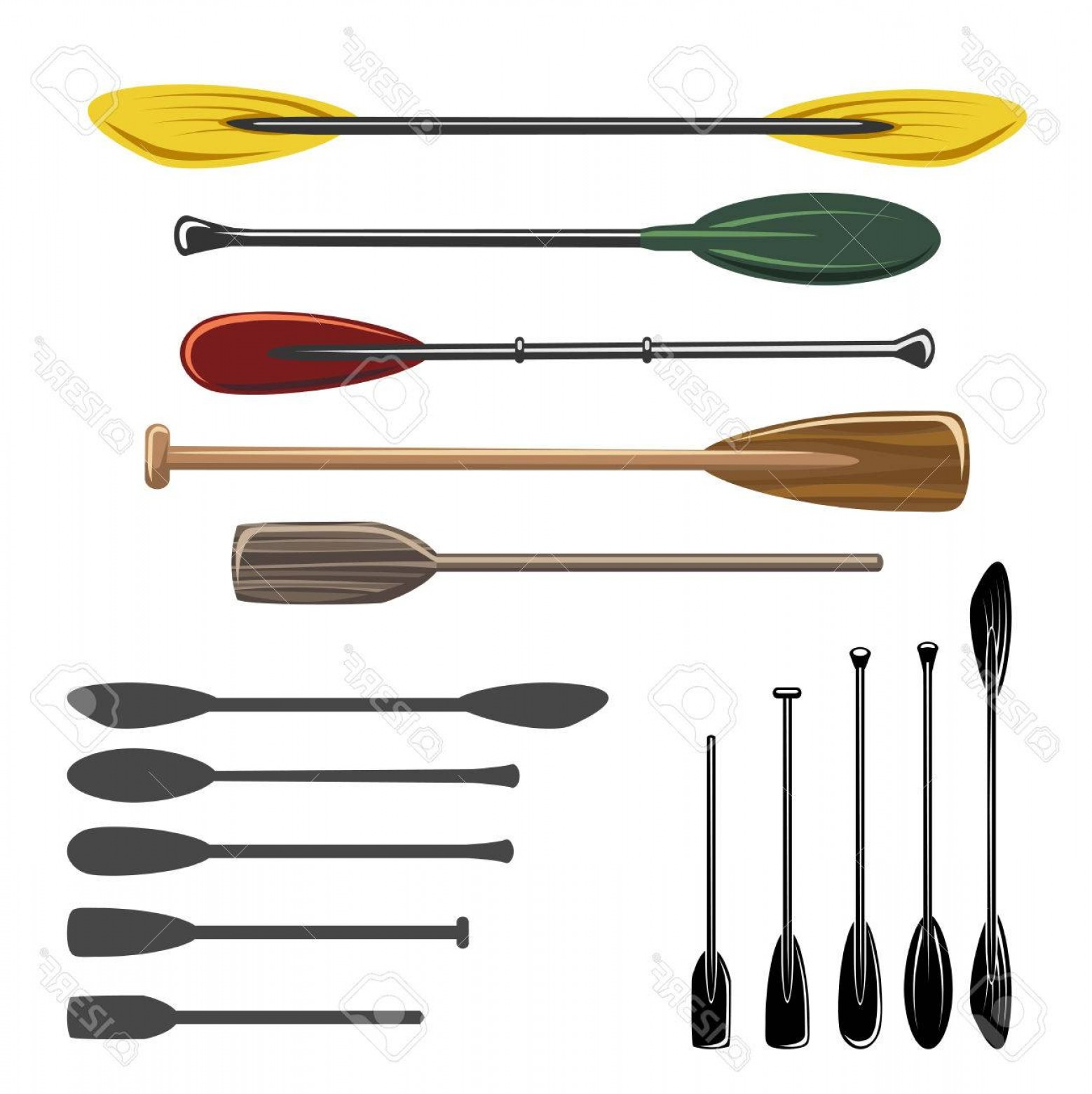 1558x1560 Photostock Vector Paddles And Oars Vector Icons Set Sport Rowing