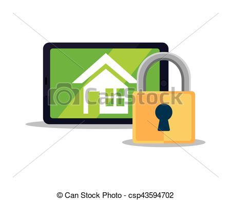 450x389 System Smart Home Security Padlock Vector Illustration Eps 10.