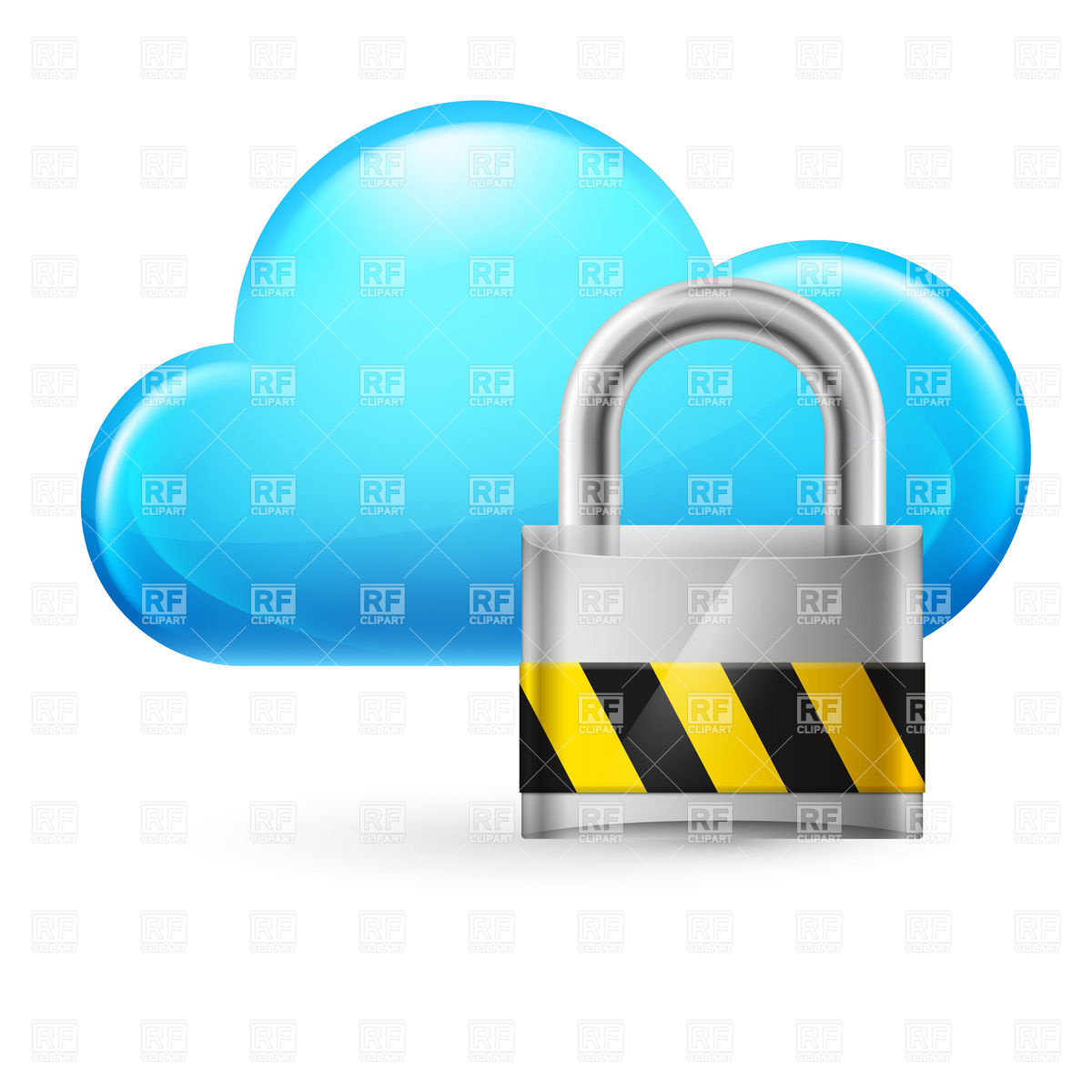 1200x1200 Cloud Computing Icon With Padlock Vector Image Vector Artwork Of