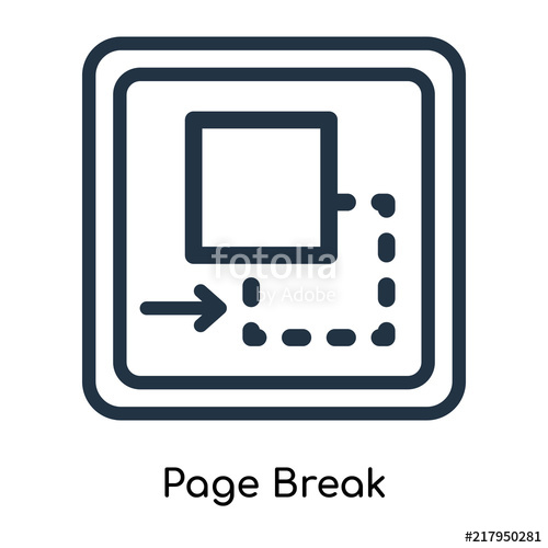 500x500 Page Break Icon Vector Isolated On White Background,