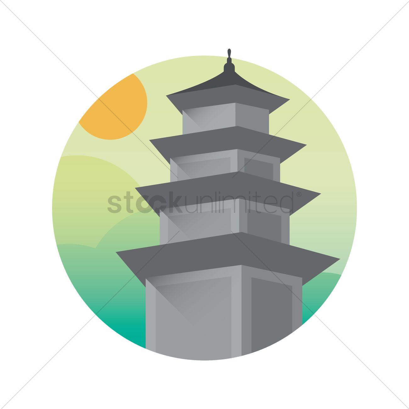 1300x1300 Korean Pagoda Vector Image